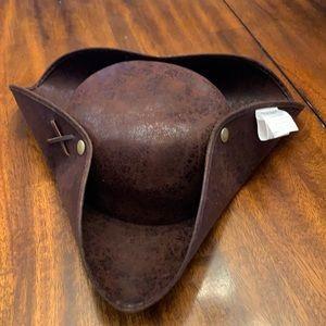Brown distressed pirate hat .unisex.